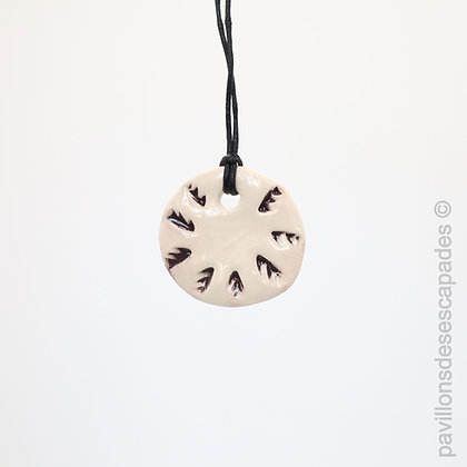 Earthenware pendant with brown prints