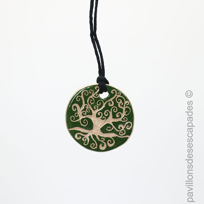 Green earthenware pendant - Tree of life