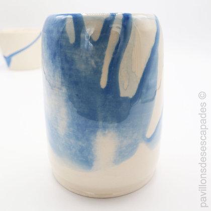 Vase en faïence - Encre bleue
