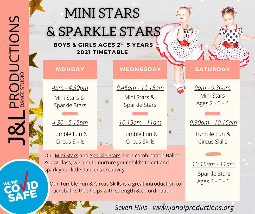 MINI STARS & SPARKLE STARS Class schedul
