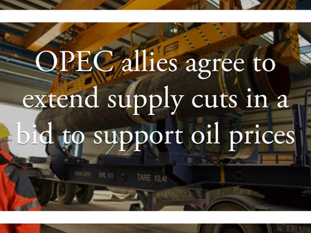 OPEC allies agree to extend supply cuts in a bid to support oil prices