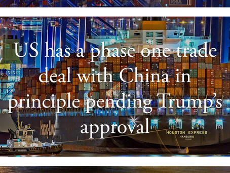 US has a phase one trade deal with China in principle pending Trump's approval