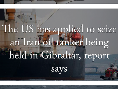 The US has applied to seize an Iran oil tanker being held in Gibraltar, report says
