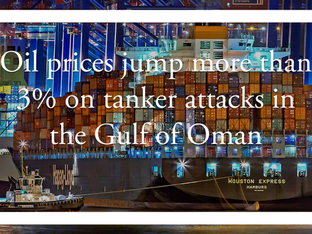 Oil prices jump more than 3% on tanker attacks in the Gulf of Oman