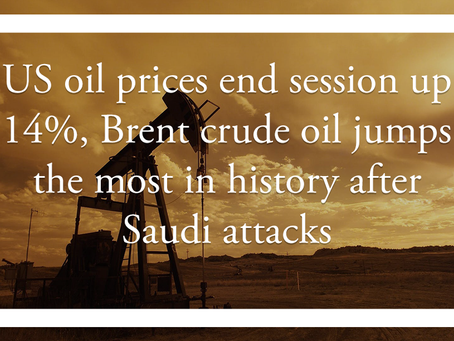 US oil prices end session up 14%, Brent crude oil jumps the most in history after Saudi attacks