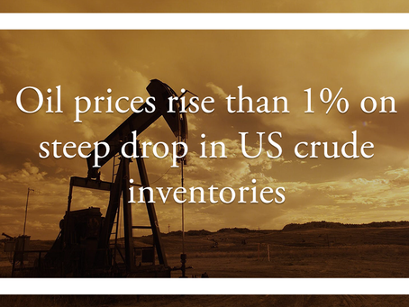 Oil prices rise than 1% on steep drop in US crude inventories