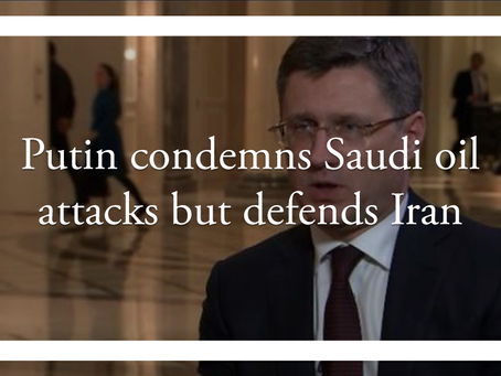 Putin condemns Saudi oil attacks but defends Iran