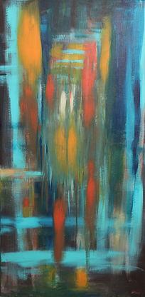 Untitled 2015 40x80cm acrylic on canvas painting by Orit Mizne