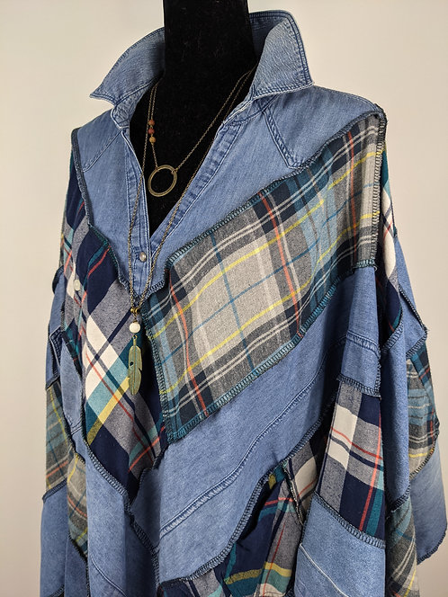 Hip Chick Design Upcycled Flannel Poncho