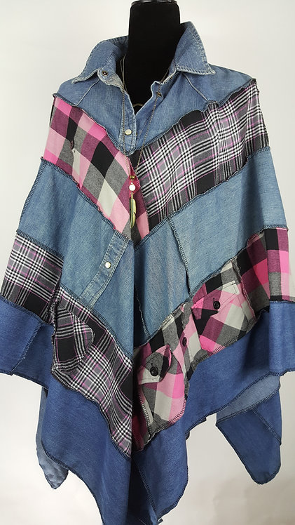 Hip Chick Design Up Cycled Flannel Poncho