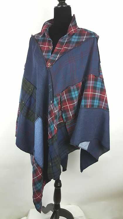 Hip Chick Design Up Cycled Flannel and Denim Shawl