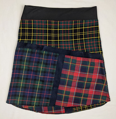 Hip Chick Design Wool Plaid and Leather A Line Skirt