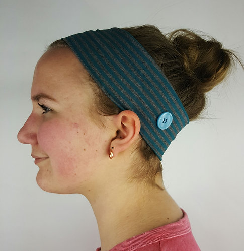 Headband with Buttons in Teal & Grey