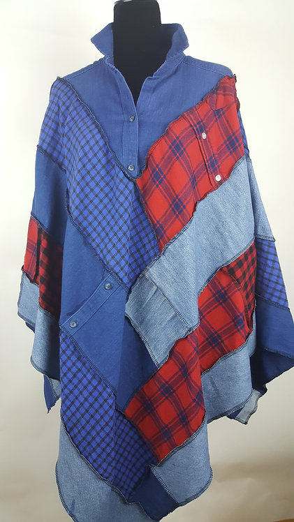 Hip Chick Design Up-cycled Flannel and Denim Poncho