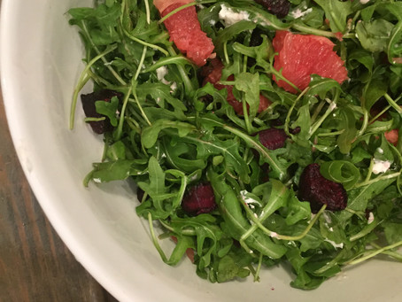 Arugula Salad with Farro, Roasted Beets, Grapefruit, and Goat Cheese with a Citrus Vinaigrette