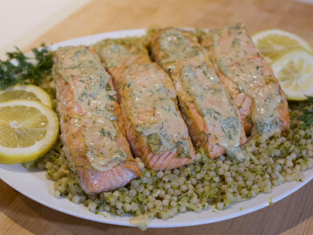 Special Sauce Salmon with Couscous Broccoli Mash