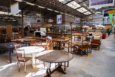 A hangar filled with second-hand furniture