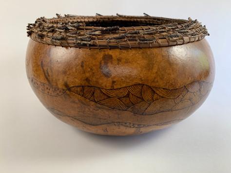 "Pyrography, Pine Needle Rim (14"" diameter x 7 1/2"" tall)"