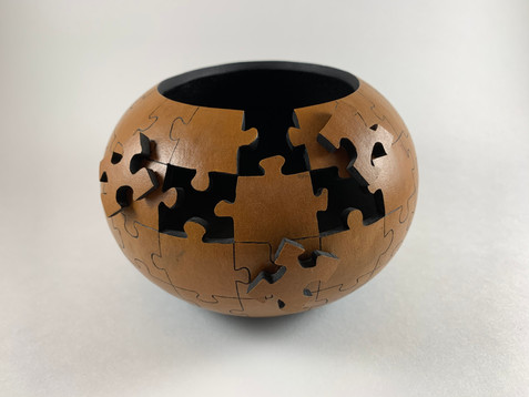 """Pyrography, Carving, Leather Dye (6"""" diameter x 4 1/2"""" tall)"""