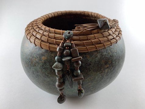 "Jade Bronze Patina Finish, Pine Needle Rim, Metal Beads (8"" diameter x 6 1/2"" tall)"