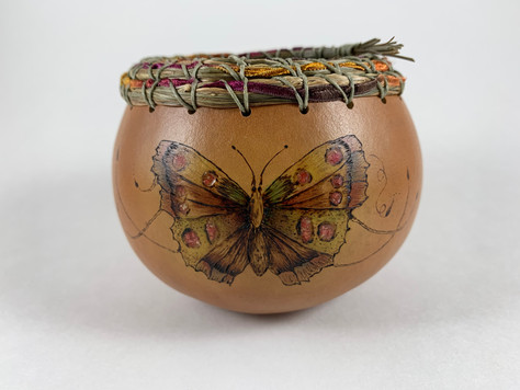 """Pyrography, Coral Inlay, Seagrass and Mixed Media Rim (4 1/2"""" diameter x 3 1/2"""" tall)"""