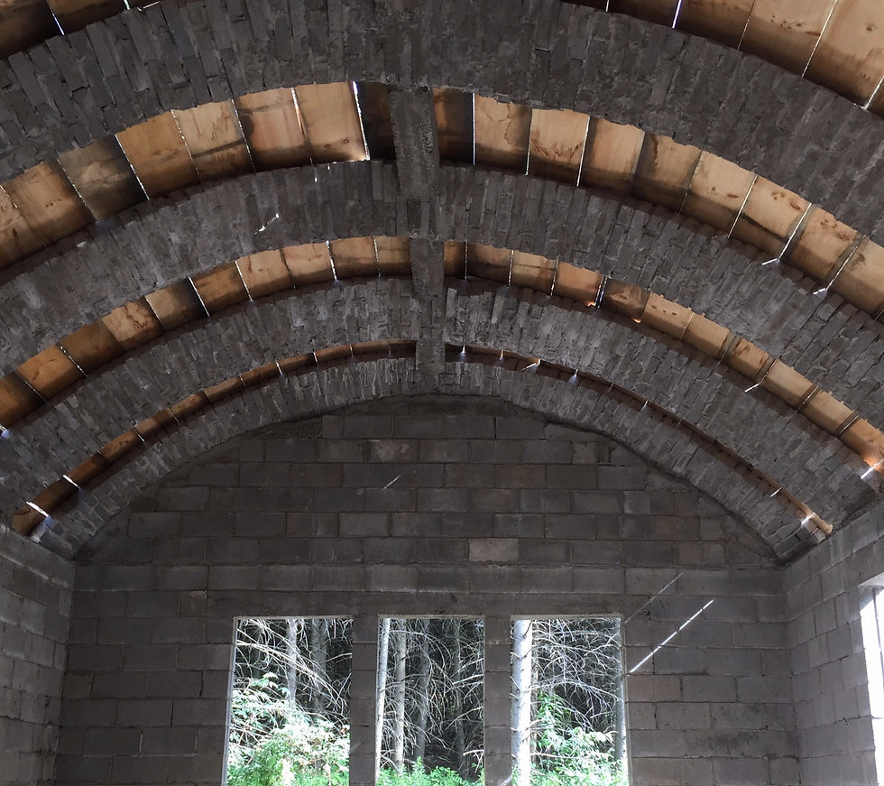 Masonry Arch Roofing with Arch Block interlocking masonry construction technology