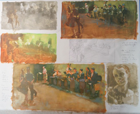 I used a large piece of canvas to conduct various studies before I formally start