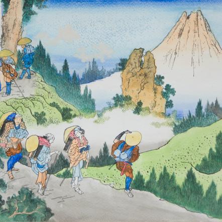 Mount Fuji Seen Among Grove of Daishakuji Temple