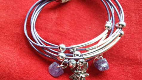 Leather and Amethyst Fairy Charm bracelet