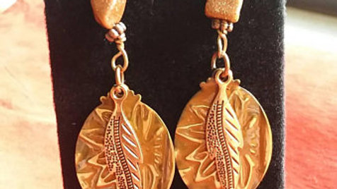 Goldstone dangle earrings