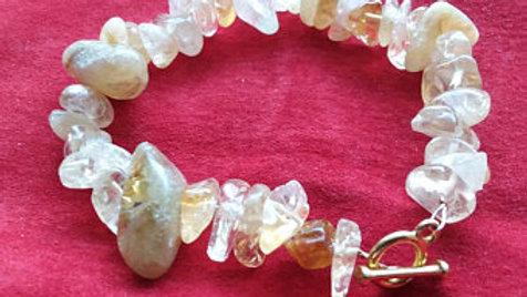 Genuine Citrine gemstone chunky bracelet