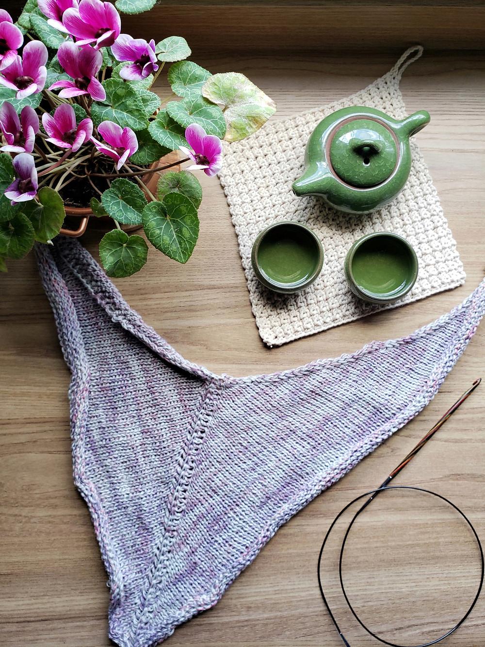 xale de crochê tunisiano, conjunto de chá japonês, flores