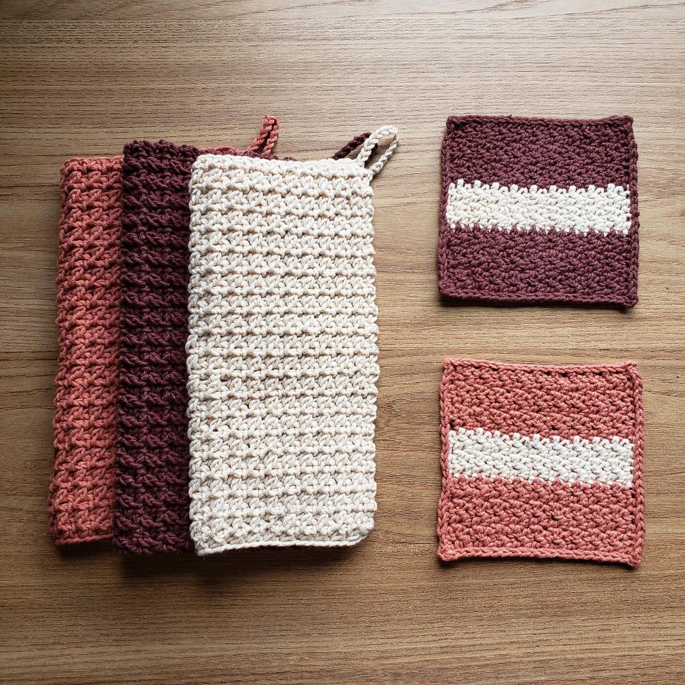 porta-copos de crochê com toalhas de crochê moderno
