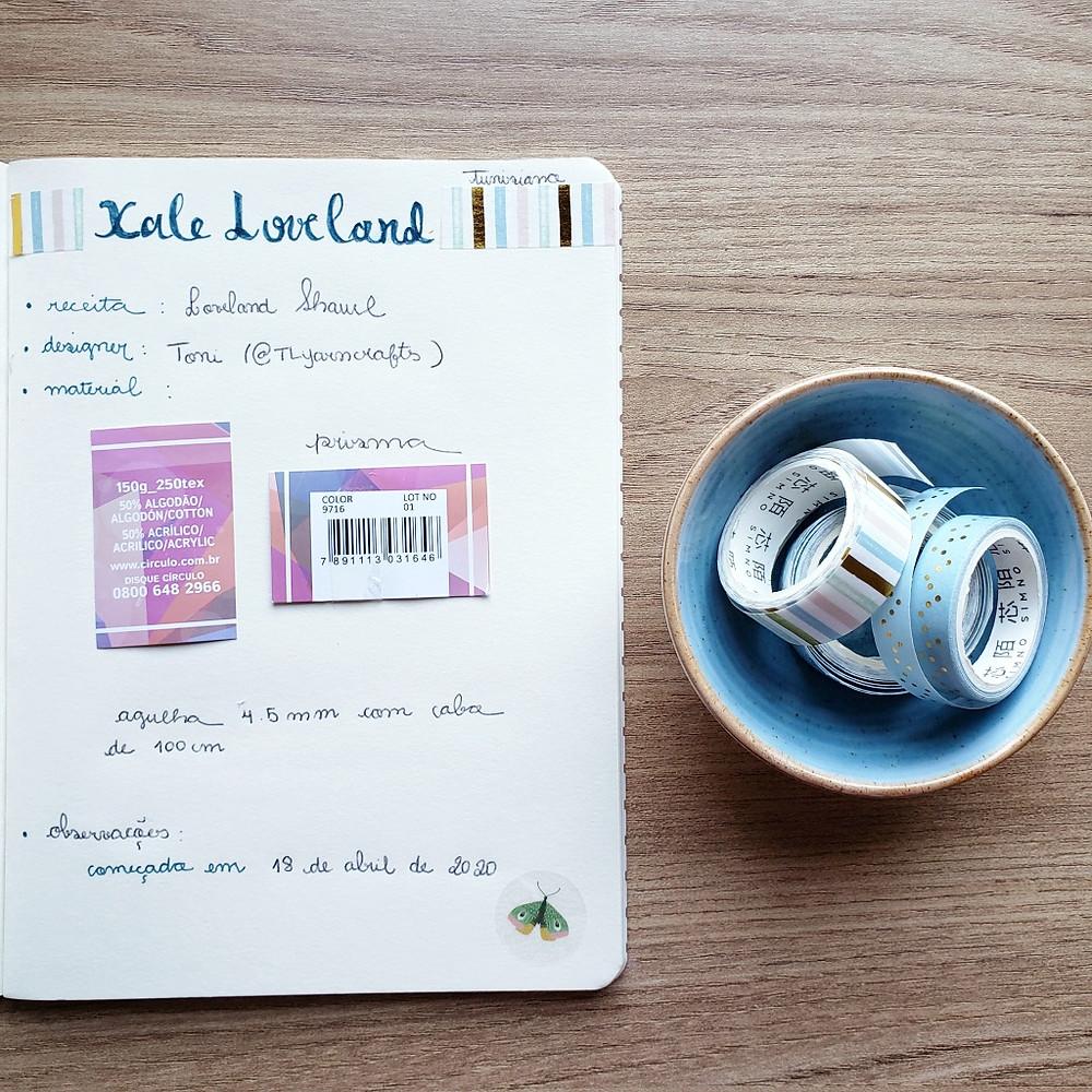 washi tapes, caderno, escrever, xale, crochê