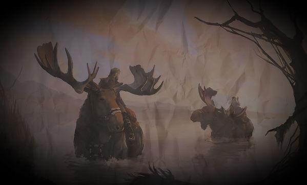 Moose Riders crossing lake