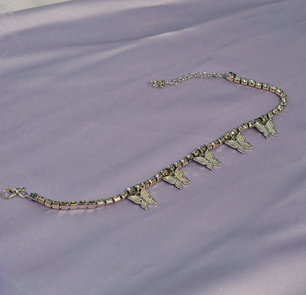 Butterfly Bling Anklet - Silver