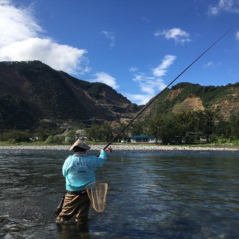 清流根尾川で鮎の友釣り体験
