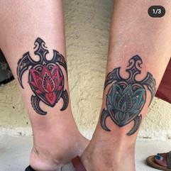 Matching turtle tattoos