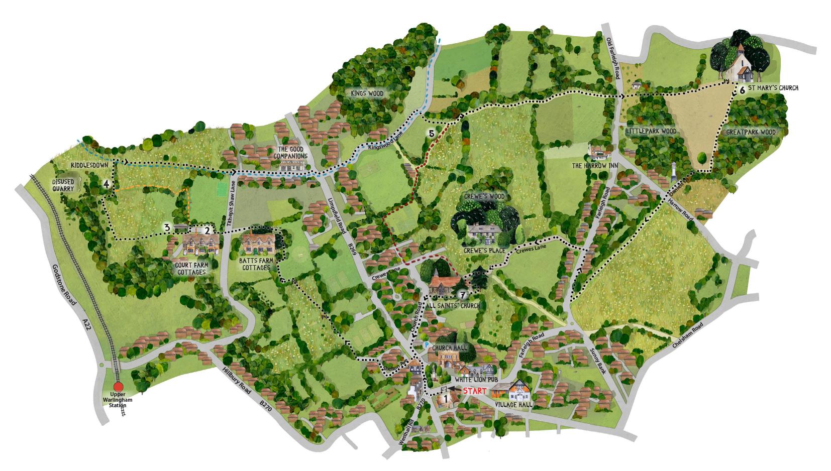 Warlingham Countryside Walks Map