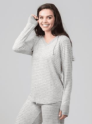 Boxercraft Women's Cuddle Fleece V-Neck Hooded Pullover