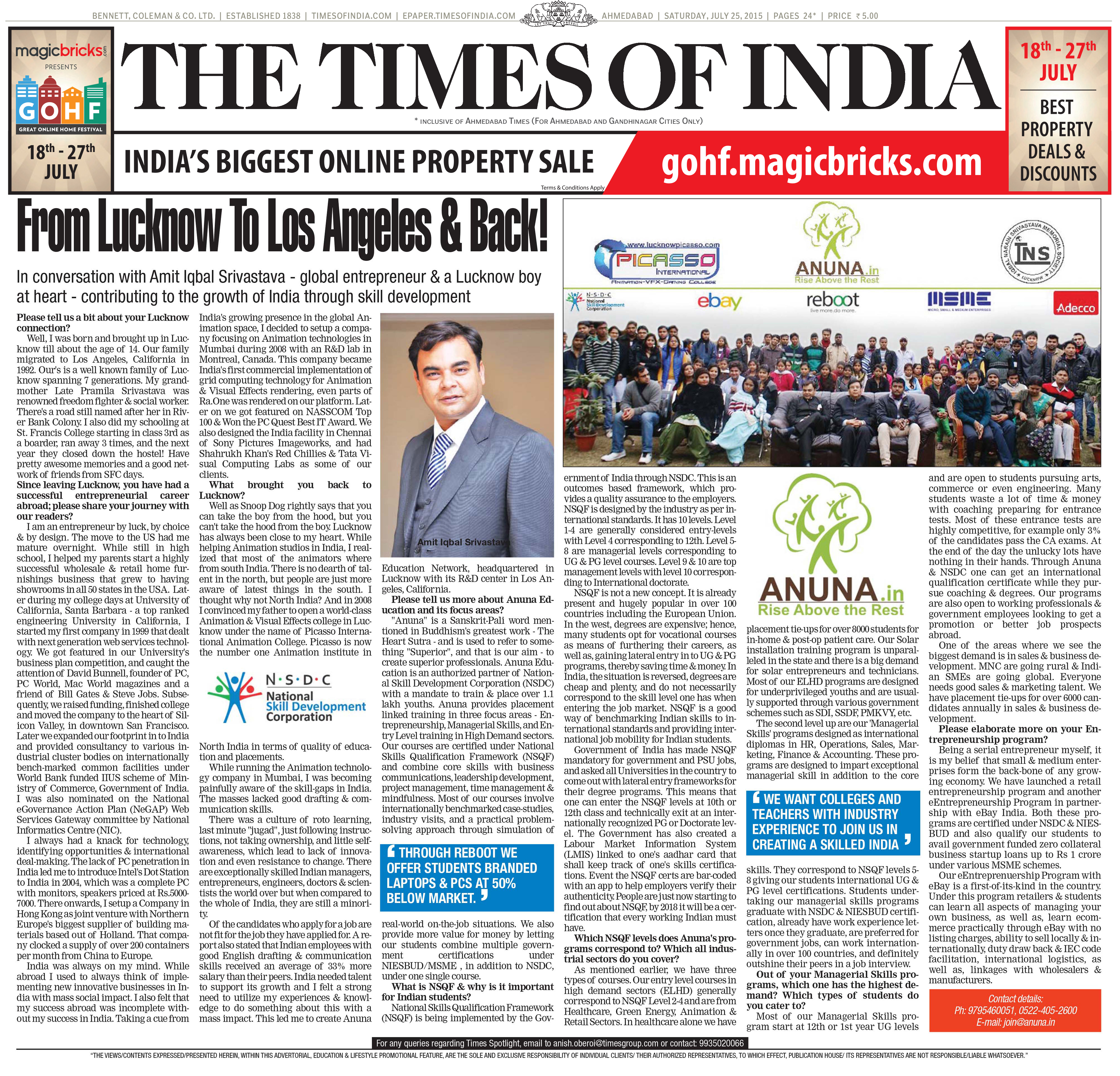 Times of India Interview 07/25/15