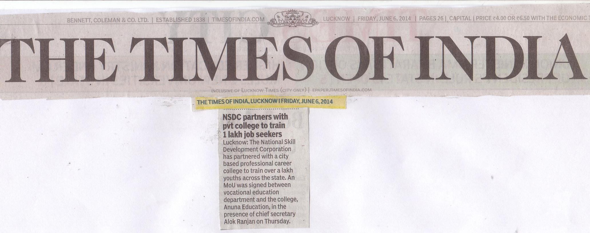 The Times Of India June 9th 2014