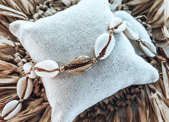 Bracelet cheville cauris