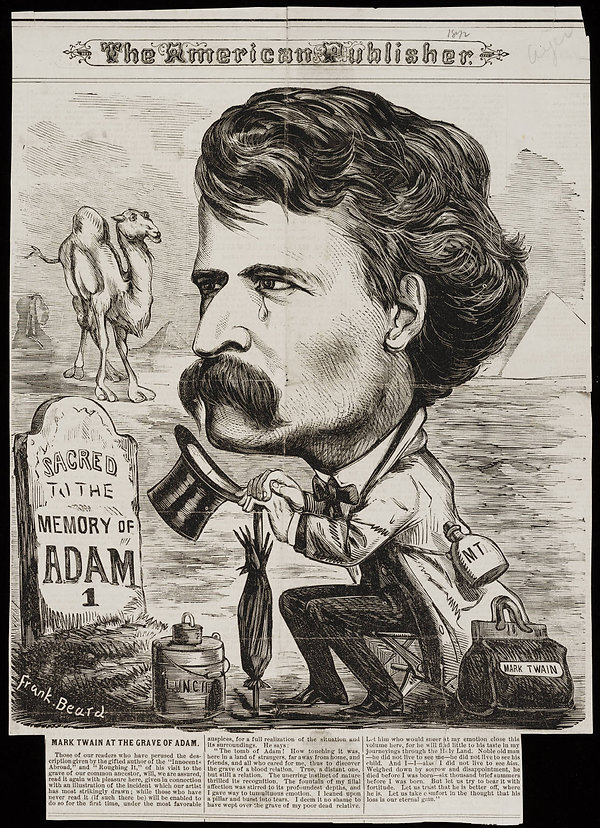 Mark_Twain_at_the_grave_of_Adam_by_Frank