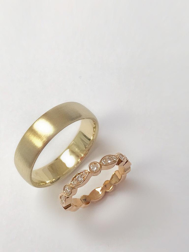 YELLOW GOLD MENS BAND - ROSE GOLD MARQUISE & DOT WOMANS BAND
