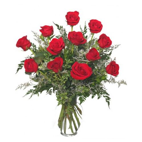 12 Fancy Red Roses in vase with filler