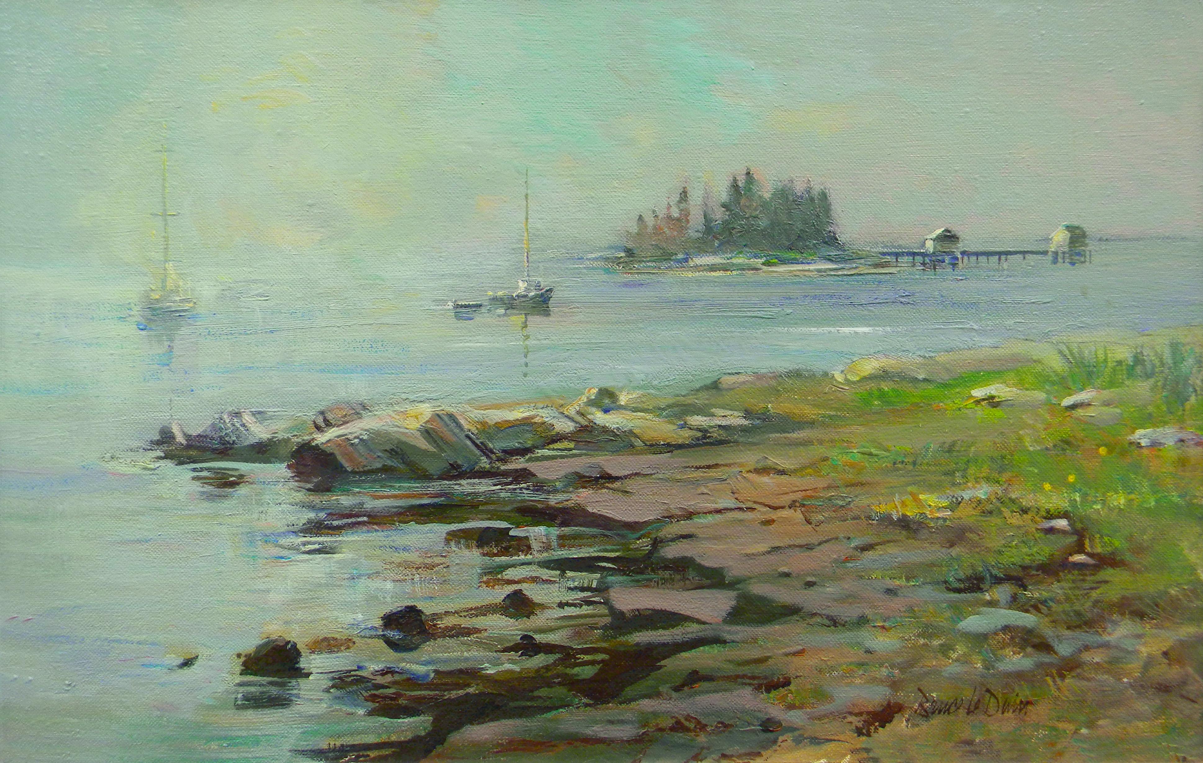 Sunrise, Fog Lifting, Jericho Bay, Deer Isle, Maine
