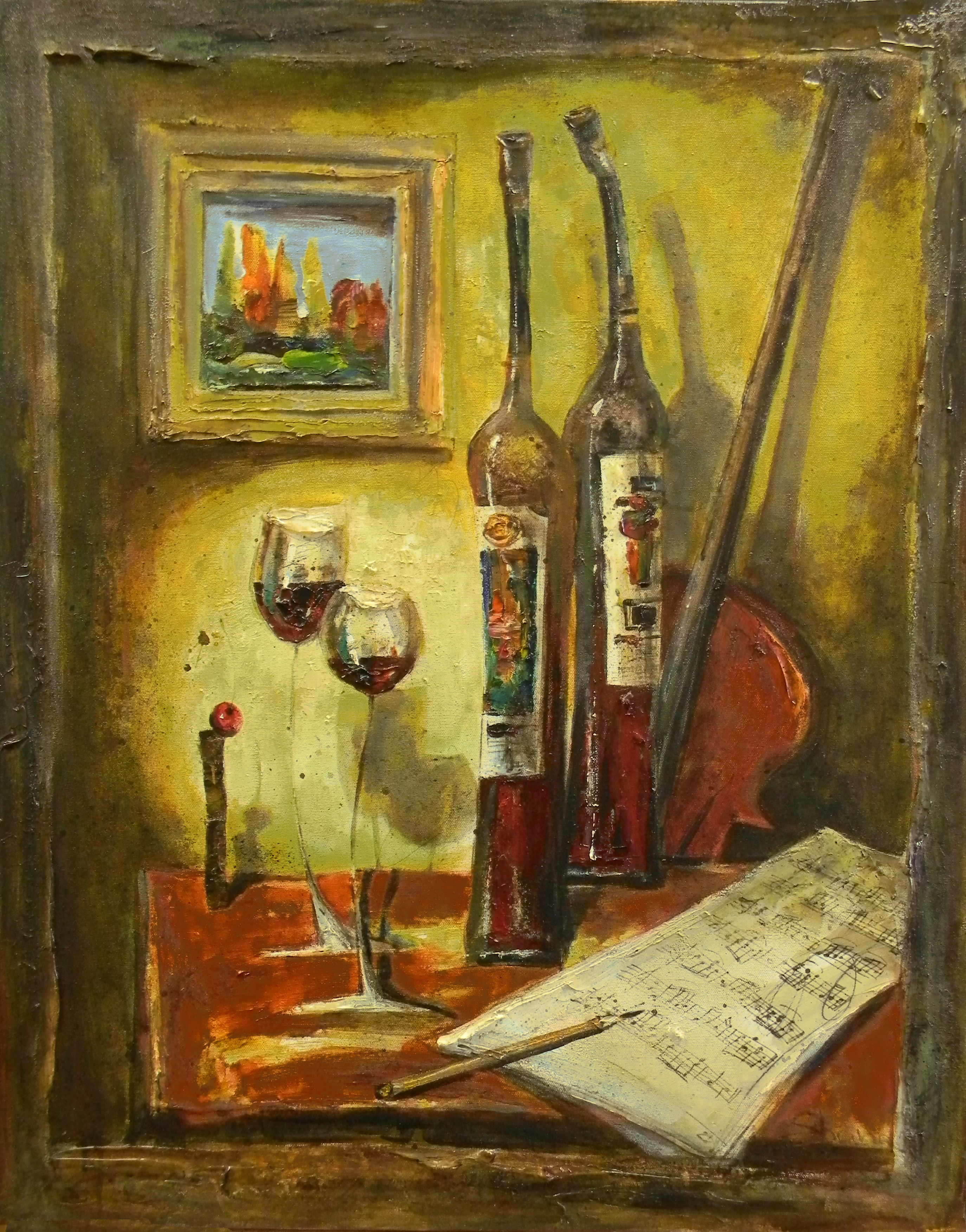 Still Life With Wine Bottles and Violin