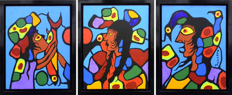 Learning Traditional Ways Triptych, 1978 by Norval Morrisseau 1931-2007