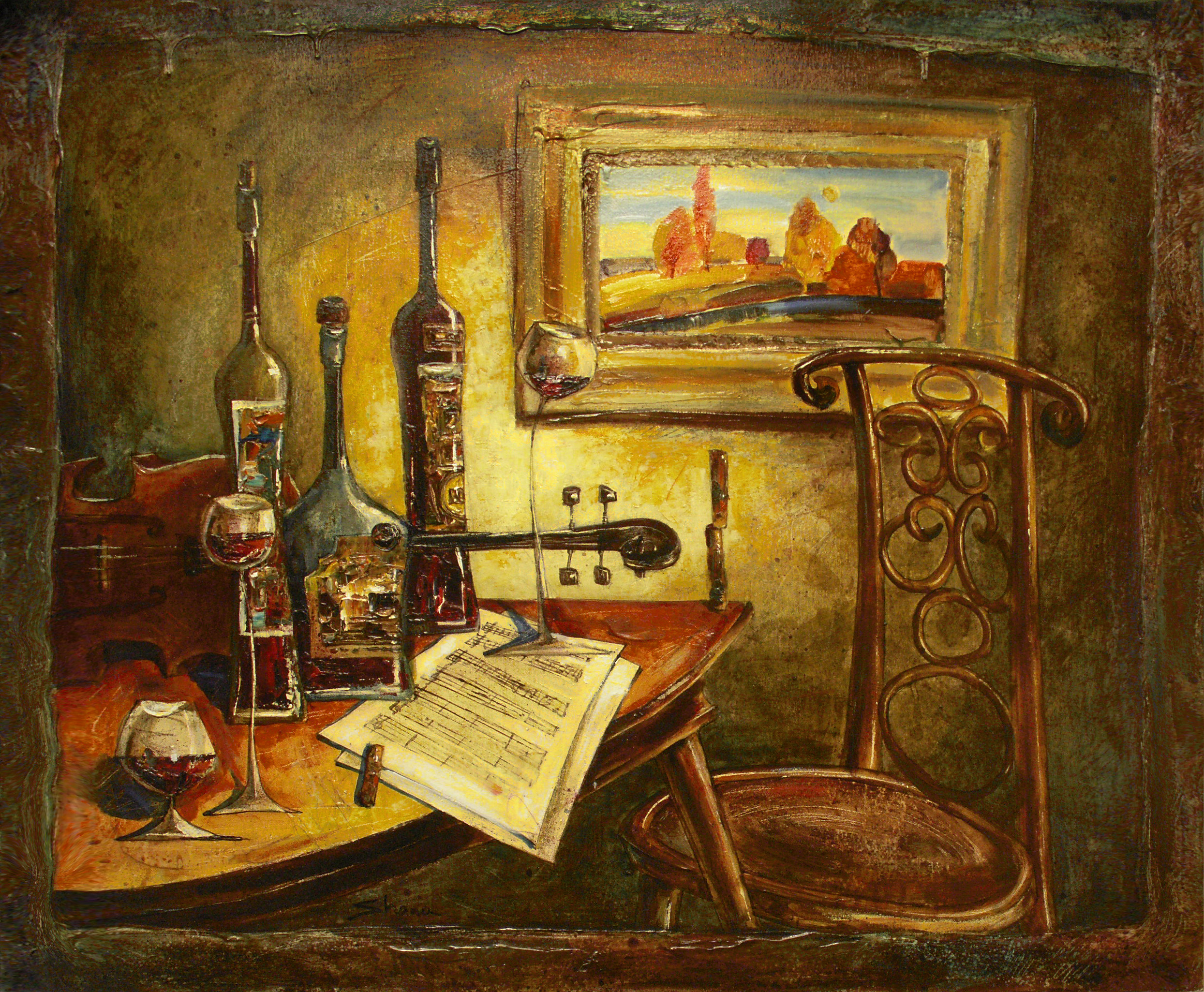 Still Life With Wine Bottles VII